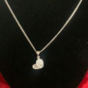 Mexican Sterling Silver Heart Pendant w/ Necklace
